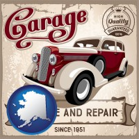 alaska map icon and an auto service and repairs garage sign