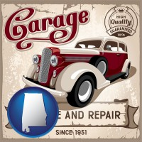 an auto service and repairs garage sign - with AL icon