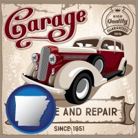 an auto service and repairs garage sign - with AR icon