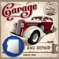 an auto service and repairs garage sign - with AZ icon