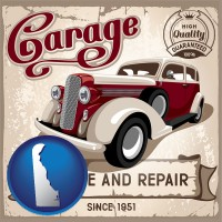 delaware map icon and an auto service and repairs garage sign