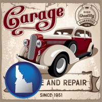 idaho map icon and an auto service and repairs garage sign