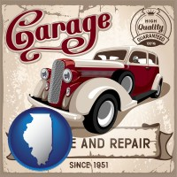 an auto service and repairs garage sign - with Illinois icon