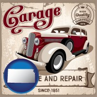 kansas map icon and an auto service and repairs garage sign
