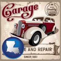 louisiana map icon and an auto service and repairs garage sign