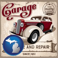 an auto service and repairs garage sign - with MI icon