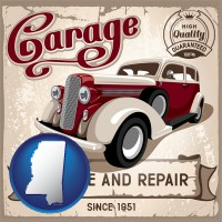 mississippi map icon and an auto service and repairs garage sign