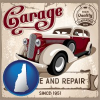 new-hampshire map icon and an auto service and repairs garage sign