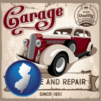 new-jersey map icon and an auto service and repairs garage sign