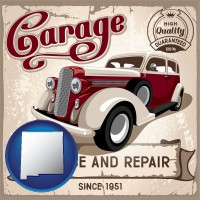 new-mexico map icon and an auto service and repairs garage sign