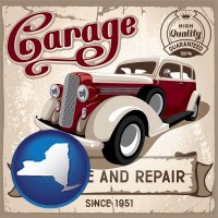 new-york map icon and an auto service and repairs garage sign