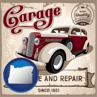 oregon map icon and an auto service and repairs garage sign