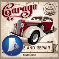 rhode-island map icon and an auto service and repairs garage sign