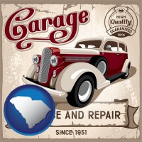 an auto service and repairs garage sign - with SC icon