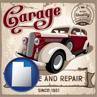 utah map icon and an auto service and repairs garage sign