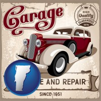 vermont map icon and an auto service and repairs garage sign