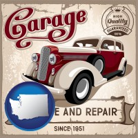 washington map icon and an auto service and repairs garage sign