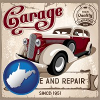 west-virginia map icon and an auto service and repairs garage sign