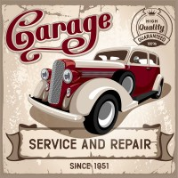an auto service and repairs garage sign
