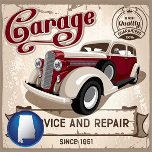 an auto service and repairs garage sign - with Alabama icon