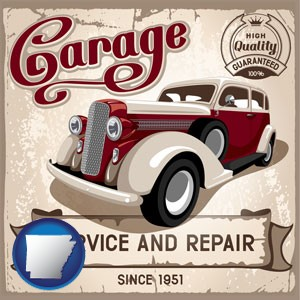 an auto service and repairs garage sign - with Arkansas icon