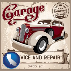 an auto service and repairs garage sign - with California icon