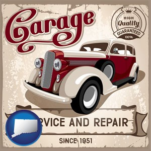 an auto service and repairs garage sign - with Connecticut icon