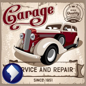 an auto service and repairs garage sign - with Washington, DC icon