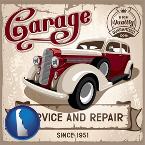 an auto service and repairs garage sign - with Delaware icon