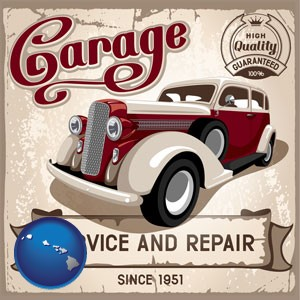 an auto service and repairs garage sign - with Hawaii icon