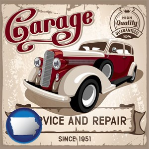 an auto service and repairs garage sign - with Iowa icon