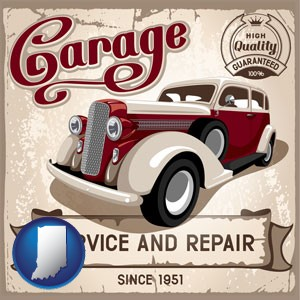 an auto service and repairs garage sign - with Indiana icon