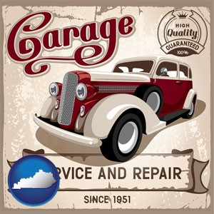 an auto service and repairs garage sign - with Kentucky icon