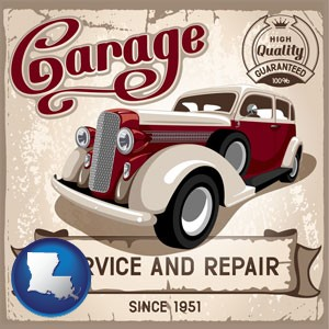 an auto service and repairs garage sign - with Louisiana icon