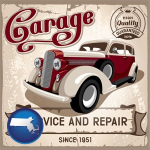 an auto service and repairs garage sign - with Massachusetts icon