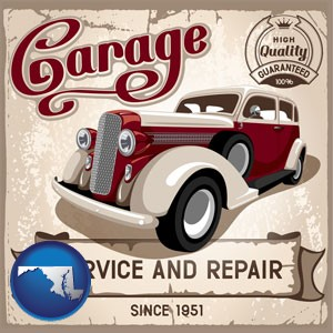 an auto service and repairs garage sign - with Maryland icon