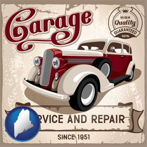 an auto service and repairs garage sign - with Maine icon