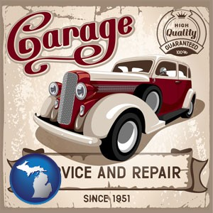 an auto service and repairs garage sign - with Michigan icon