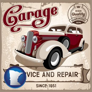 an auto service and repairs garage sign - with Minnesota icon