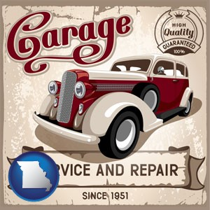 an auto service and repairs garage sign - with Missouri icon