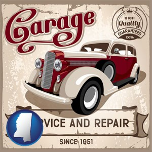 an auto service and repairs garage sign - with Mississippi icon