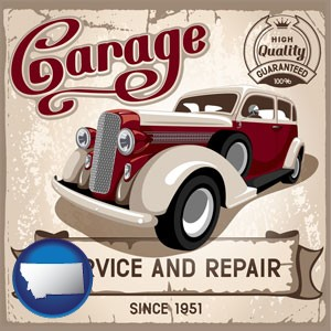 an auto service and repairs garage sign - with Montana icon