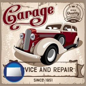 an auto service and repairs garage sign - with North Dakota icon