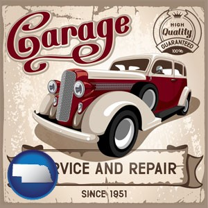 an auto service and repairs garage sign - with Nebraska icon