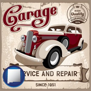an auto service and repairs garage sign - with New Mexico icon