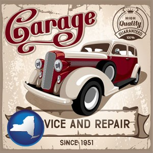 an auto service and repairs garage sign - with New York icon
