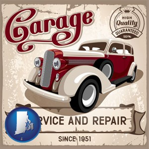 an auto service and repairs garage sign - with Rhode Island icon