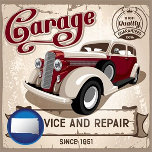 an auto service and repairs garage sign - with South Dakota icon