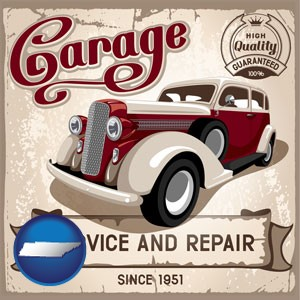 an auto service and repairs garage sign - with Tennessee icon