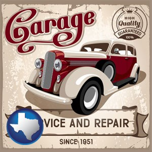 an auto service and repairs garage sign - with Texas icon